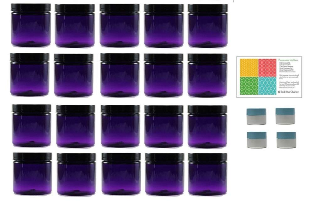 Purple 4 oz Plastic Jars with Black Lids (20 pk) with Mini Jars - PET Round Refillable Containers