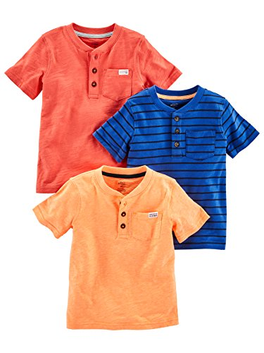 Simple Joys by Carter's Baby Boys' Toddler 3-Pack Short Sleeve Henley, Orange, Blue, Red, 2T