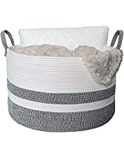"""MONOJADE Extra Large Cotton Rope Basket, 20""""x20""""x14"""" Woven Laundry Basket for Blankets Pillows and Toys, Storage Basket for Living Room, Bedroom Decorative Thread Nursery Baby Hamper"""