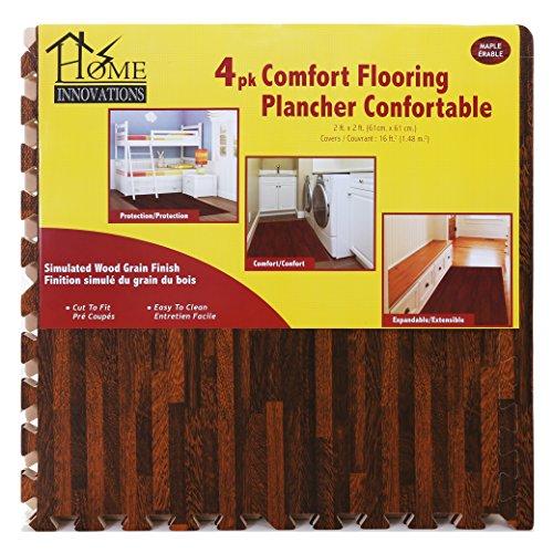 4 Piece Anti-Fatigue Flooring in Dark Wood Set