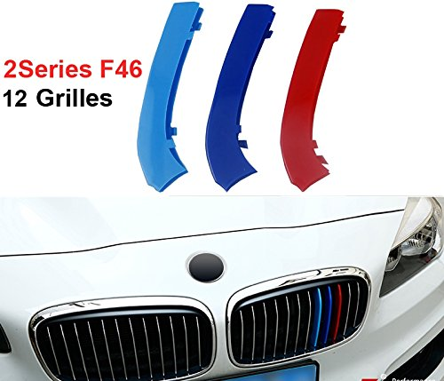 Fit for BMW 2 Series GT Active Gran Tourer F45 F46 12 Slats Bars Grilles Bonnet Hood Kidney Clip in Inserts Grille Stripes Cover Decor M Sport Tech Power Performance 3 Color BizTech