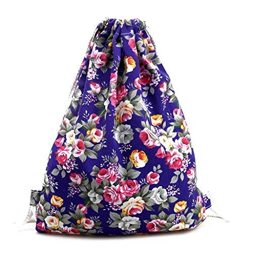 Print Canvas Laptop Computer (Creazrise Women Backpack,Womens Drawstring Canvas Backpack Floral Print Shoulder Bag (Purple))