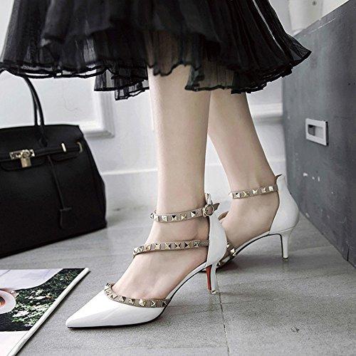 CHANCLAS SANDALS Tacones Mujer Confort PU Primavera Verano Casual Confort Tacón de aguja Rosa Negro Blanco elegante ( Color : Negro , Tamaño : EU37/UK4-4.5/CN37 ) Blanco