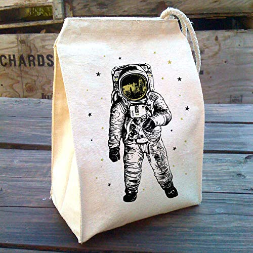 Recycled Cotton Astronaut Space Lunch bag, Washable, Reusable, Screen Printed, Metallic, shiny gold lunch box