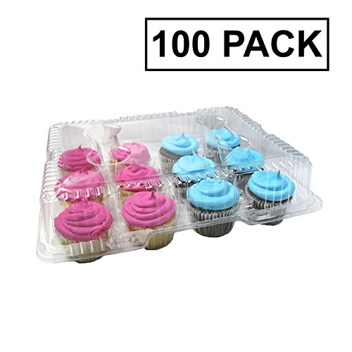 Katgely Dozen Cupcake Containers - Cupcake Holder Carrier - BPA Free Clear Plastic - Case of 100