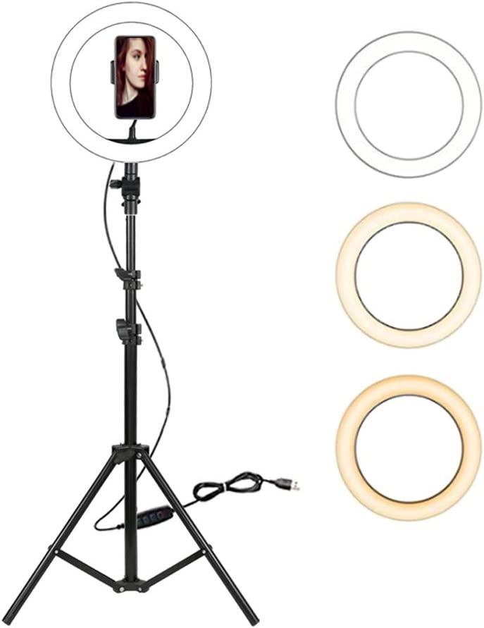 "Dimmable LED Ring Light with Tripod Stand /& Cell Phone Holder LED Fill Light Desktop Beauty Lamp with 3 Colors /& 10 Brightness for Makeup//Live Stream//YouTube Video 10/"" LED Selfie Ring Light"