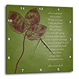 3dRose dpp_99339_1 Red Leaves Inspirational Love Is Patient, Love Is Kind Bible Verse-Wall Clock, 10 by 10-Inch