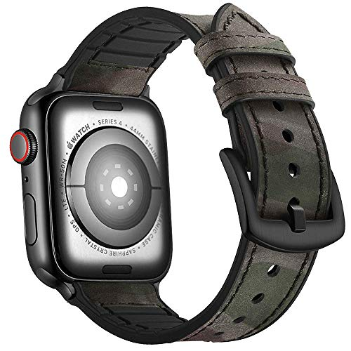 Mifa Hybrid Sports Band Compatible with Apple Watch Vintage Leather Bands Camou Replacement Strap Sweatproof iwatch Series 4 44mm Nike Space Black Grey Gray Men Women HB (44mm / 42mm - Camouflage)