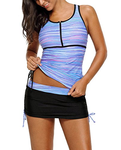 (Nicetage Women's Zip Front Racherback Tankini Top with Skirt Bottom 2 Pieces Set Swimwear 410455 (Purple,L))