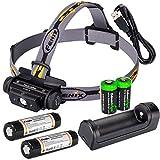 Fenix HL60R 950 Lumen USB rechargeable CREE XM-L2 T6 LED Headlamp, 2 X Fenix 18650 rechargeable Li-ion batteries,ARE-X1 charger with 2 X EdisonBright CR123A back-up batteries bundle