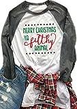 Womens Merry Christmas Ya Filthy Animal Letters Print Tee Baseball Raglan TShirt size US S/Tag M (Gray)
