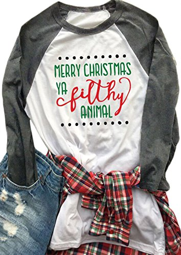 Womens Merry Christmas Ya Filthy Animal Letters Print Tee Baseball Raglan TShirt size US XL/Tag XXL - Christmas Shirts