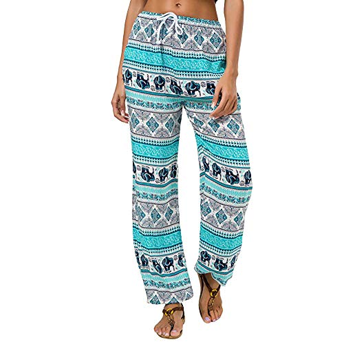 TnaIolr Women Casual Stretch Print Pants Straps Pocket Slim Loose Sport Full Pants