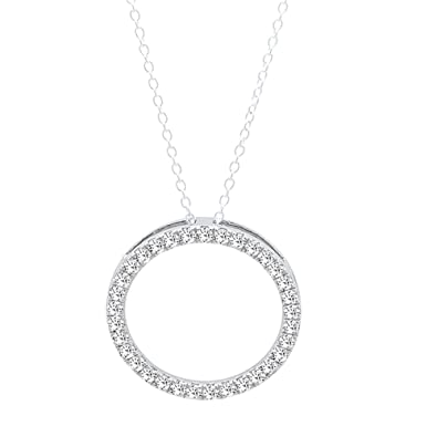 Amazon 010 carat ctw 14k white gold round white diamond 010 carat ctw 14k white gold round white diamond circle pendant silver chain mozeypictures Image collections