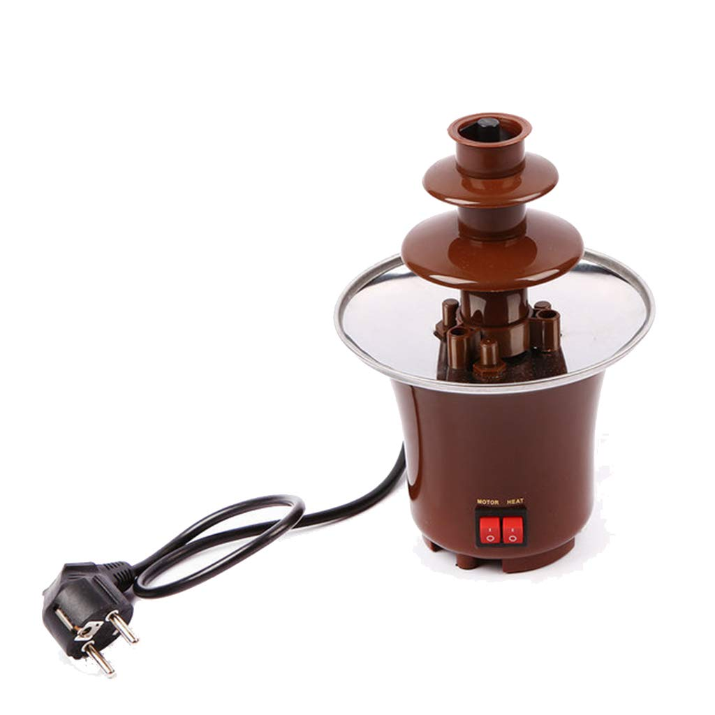 Socean Mini three-layer chocolate fountain - small household stainless steel chocolate fondue spray tower, stainless steel rotary heater.