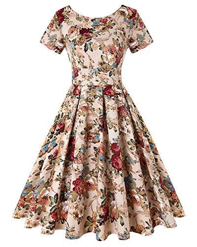 Women's Retro Vintage Style Short Sleeve Cocktail Party Swing Dresses (Floral Khaki,Size L)