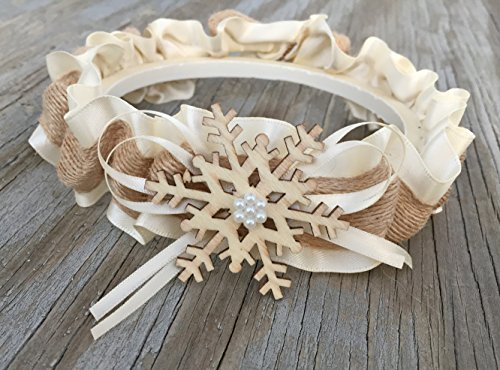 Winter Ivory Rustic Country Snowflake Pearl Bridal Wonderland Satin Wedding Keepsake Garter