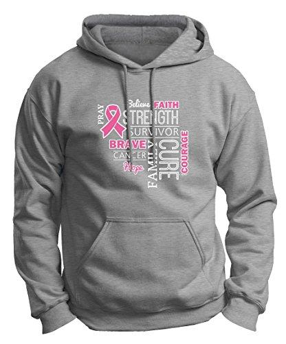 Breast Cancer Survivor Gifts Breast Cancer Survivor Breast Cancer Awareness Word Art Pink Ribbon Premium Hoodie Sweatshirt XL LtStl ()