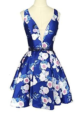 Dearta Women's A-Line V-Neck Short Mini Floral Printed Homecoming Dresses US 18
