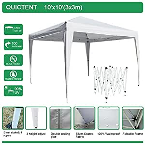 Quictent Easy Pop Up Canopy Tent Instant Canopy 10x10 Feet waterproof (White 2)
