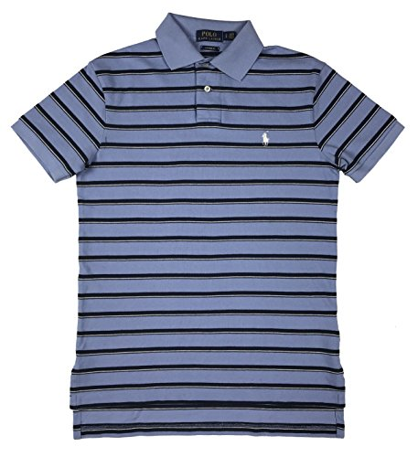 Polo Ralph Lauren Mens Custom Fit Striped Polo Shirt (Blue, - Lauren Mens Ralph Polo