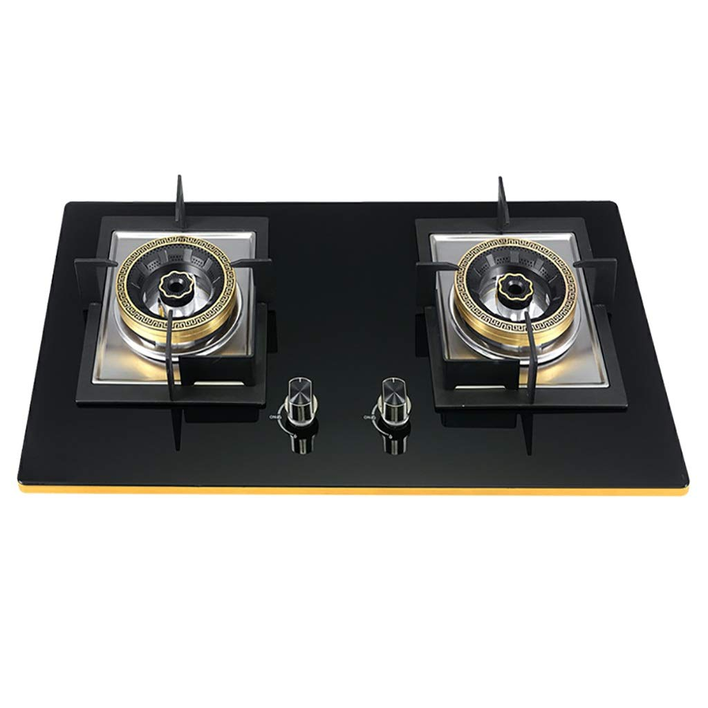 LQ-Stoves Gas Cooktops, Kitchen Energy-Saving Tempered Glass 2 Burner cooktop, Built-in, cooktop Dual-use Natural Gas Cooktops Size: 750430 mm by LQ-Stoves