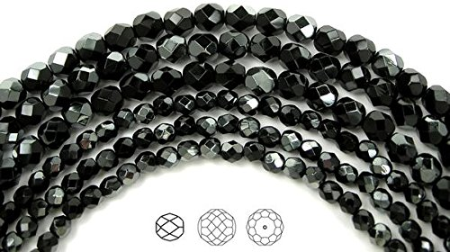 4mm (102 beads) Jet black Hematite Half Coated (Jet Moonlight), Czech Fire Polished Round Faceted Glass Beads, 16 inch strand
