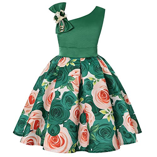 One Shoulder Printed Dress for Girls Princess Flower Wedding Pageant Party Dresses,Green,2T]()