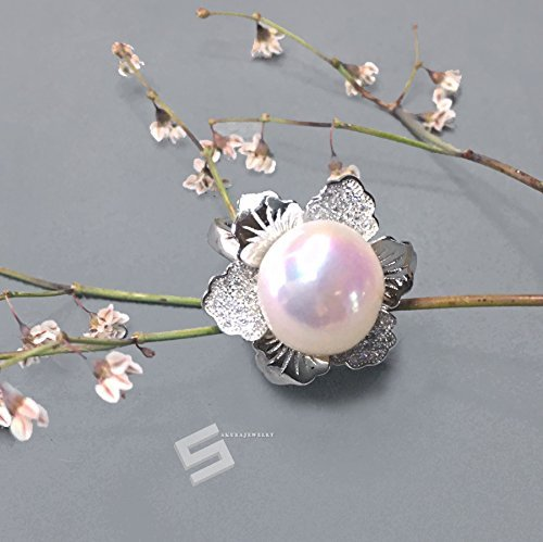 Large Baroque Pearl And Silver Statement Ring, 13-18MM Freshwater Pearl In Sterling Silver Flower Setting cocktail Ring, Big Real Pearl Ring Flower Setting