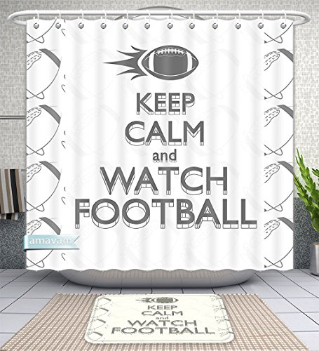 Unique Custom Bathroom 2-Piece Set Football American Sport Play Keep Calm Quote Monochrome Rocket Ball Vintage Label Black White Grey Shower Curtains And Bath Mats Set, 60