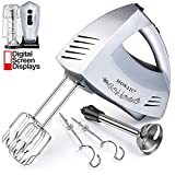 Hand Mixer Electric MOSAIC 300W 6 Speeds Digital Kitchen Mixer and Immersion Blender with Turbo Function Included 5 Stainless Steel Attachments and Storage Base