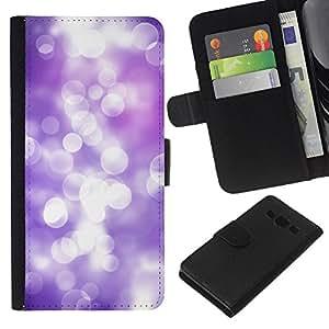 WINCASE Cuadro Funda Voltear Cuero Ranura Tarjetas TPU Carcasas Protectora Cover Case Para Samsung Galaxy A3 - lila blanca púrpura reflexión foco luminoso