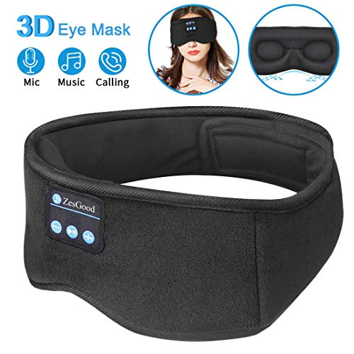 Sleep Headphones Bluetooth Eye Mask,ZesGood 3D Bluetooth 5.0 Wireless Sleep Mask,Washable Adjustable Travel Music Handsfree Sleeping Headset with Built-in HD Speaker and Micro for Side Sleepers