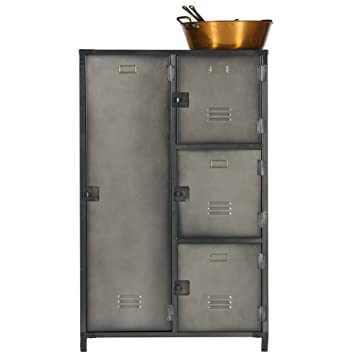 Metall Aufbewahrungsschrank 4 Türen Schrank Spindschrank Spind Vintage  Schwarz
