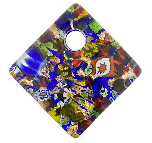 Fused Murano Glass Curved Diagonal Pendant 30mm 24kt Gold, Multi ()