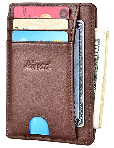 Slim Wallet RFID Front Pocket Wallet Minimalist Secure Thin Credit Card Holder (One Size, A ID Holder Coffee)