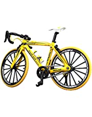 NUOBESTY Racing Bike Model Mini Mountain Bicycle Decoration Cool Boy Toy Collections,Christmas Brithday Gifts(Yellow)