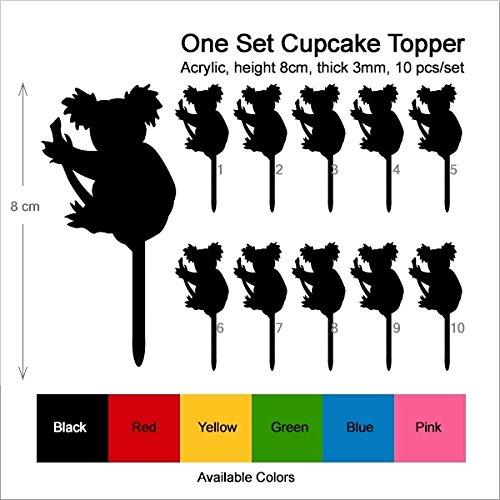 TA0359 Australia Cute Koala Bear Silhouette Party Wedding Birthday Acrylic Cupcake Toppers Decor 10 pcs by jjphonecase (Image #2)'