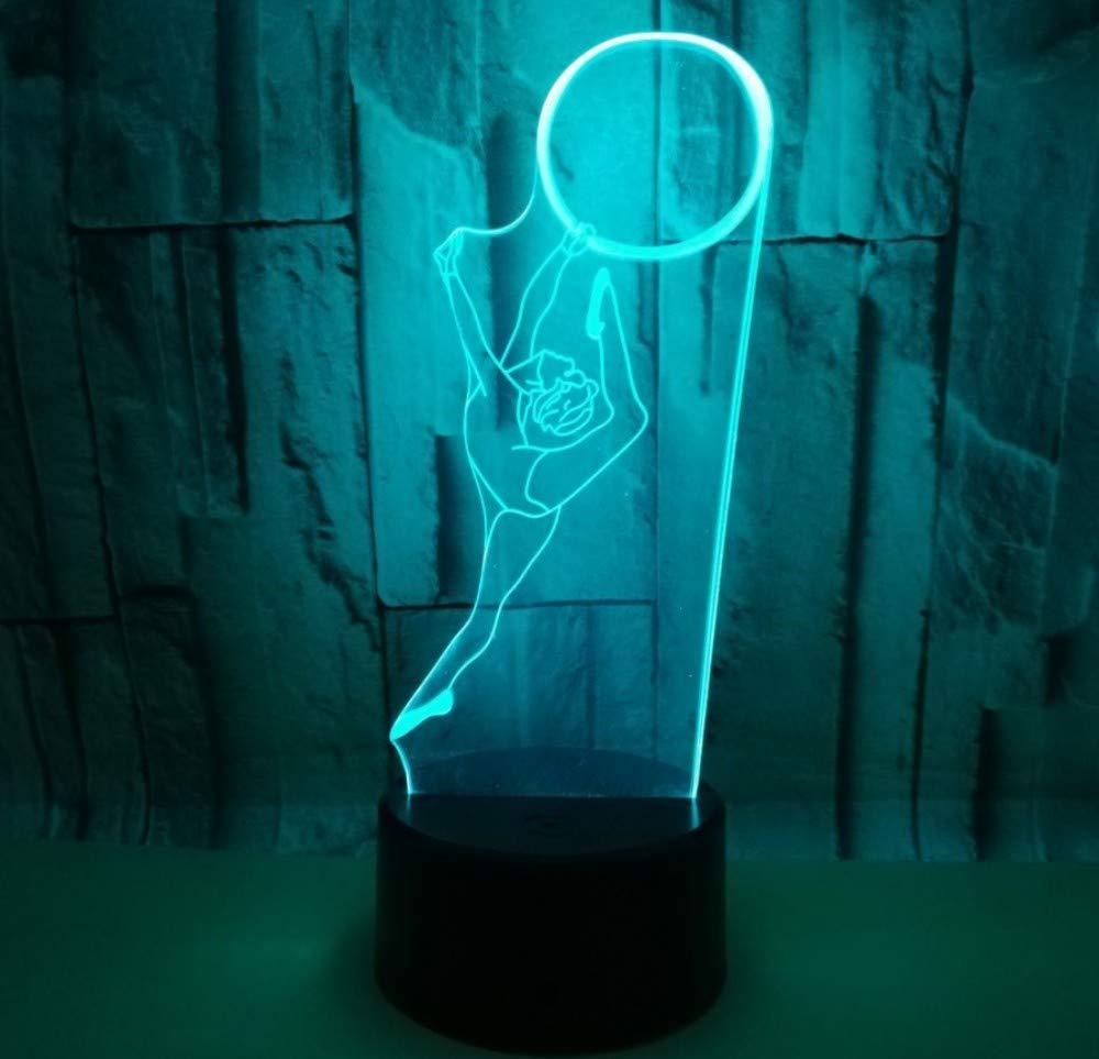 Luce notturna 3D Luce notturna Tocco colorato Ginnastica ritmica Tocco colorato Luce a LED integrata Figura Figura Lampada da tavolo Decorazione domestica Regalo di festa