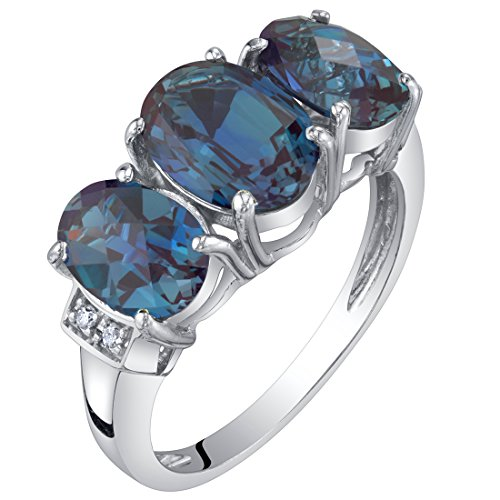 - 14K White Gold Created Alexandrite and Diamond Three Stone Triune Ring 2.75 Carats Size 9