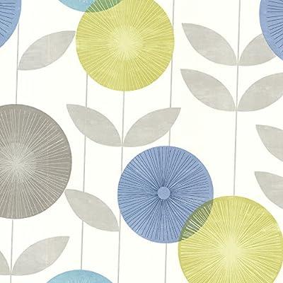 Brewster 2532-20412 Monroe Modern Floral Wallpaper, Aquamarine