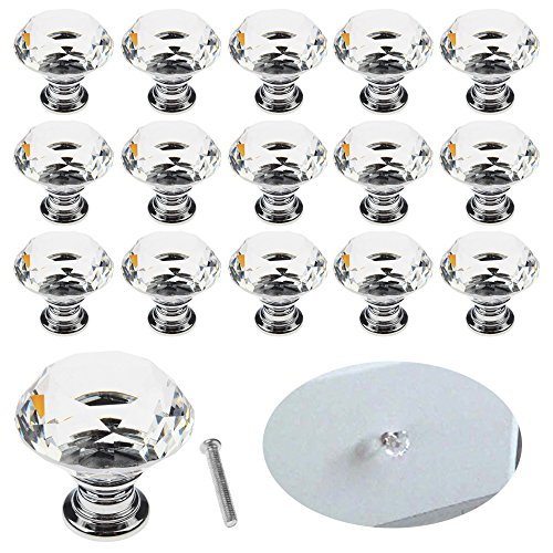 Interlink 16 pcs 30mm Crystal Glass Cabinet Knobs Clear Diamond Shape Drawer Pull Handle with Screws for Cupboard Drawer Dresser Door Kitchen by Interlink-UK