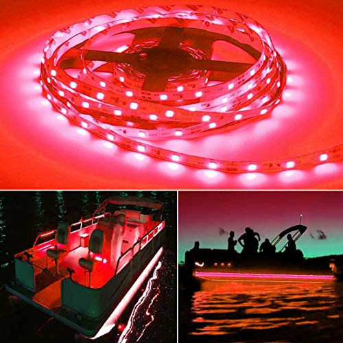 Jon Package Boat (Seapon Pontoon Boat Light, Marine Led Light Strip for Duck Jon Bass Boat Sailboat Kayak Led Flex Lighting for Boat Deck Light Accent Light Courtesy Interior Lights Fishing Night, Red, 12v, 5m(16.4ft))