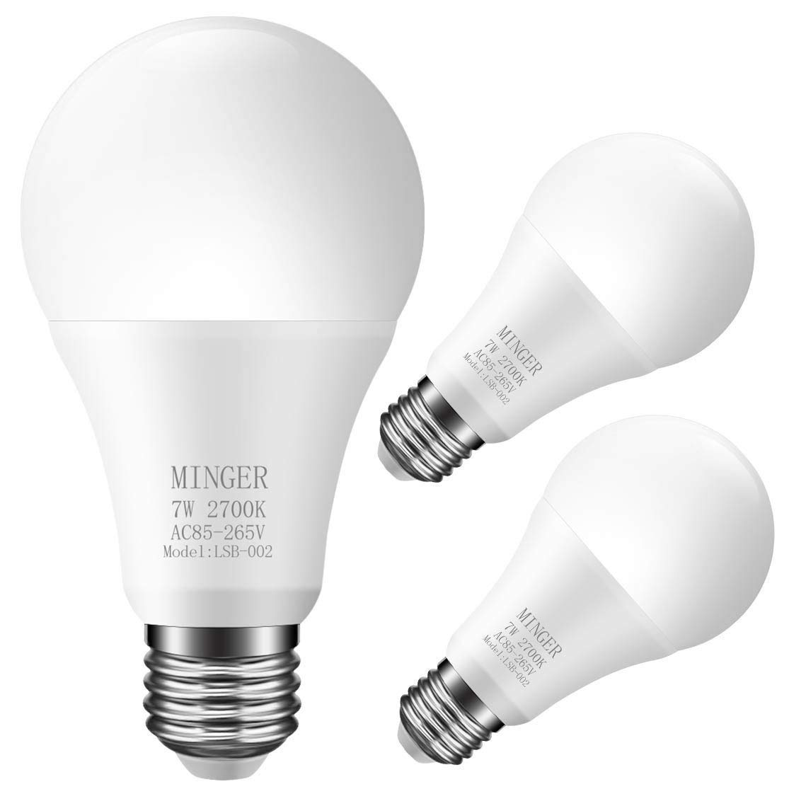 MINGER LED Dusk-to-Dawn Light Bulb, 7W Smart Sensor Bulbs, 60W Equiv.Automatic Indoor/Outdoor Lighting Lamp for Porch, Hallway, Patio, Garage (E26/E27, 600lumen, Warm White) [3-Pack]