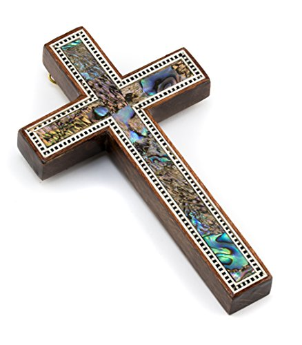 Leolana handmade Wall Cross - inlaid with Mother of pearl