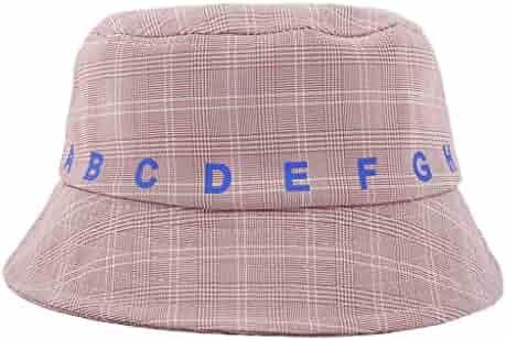 f148efd79268f1 Men Womens Fisherman's Hat Korean Version Wild Plaid Cap Cotton Bucket Hat  Wide Brim Fedora Fishing