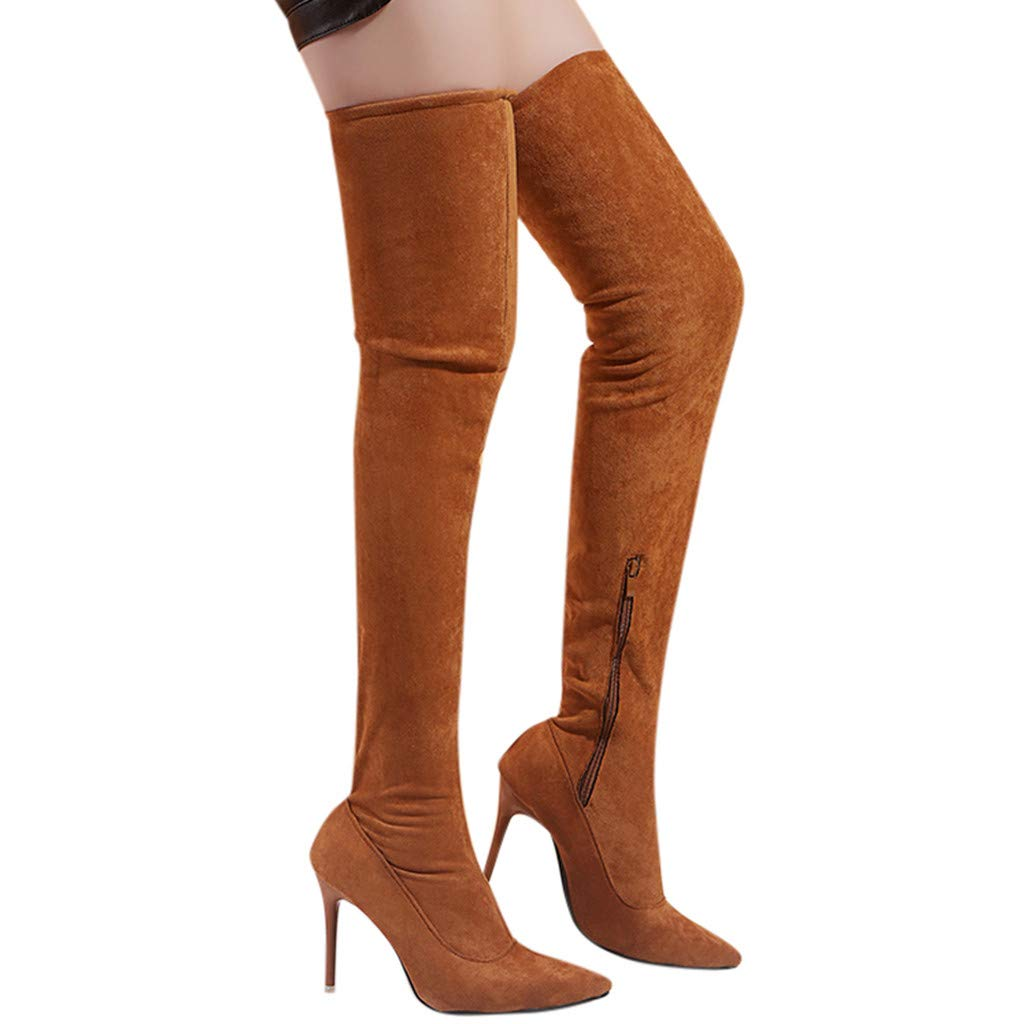 Women's Over The Knee Boot - Sexy Pointed Toe High Heel Thigh High Boots Flock Zipper Comfortable Boot (US:9, Brown)