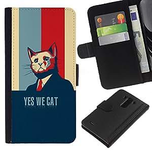KingStore / Leather Etui en cuir / LG G3 / Presidente divertido Elección Usa Azul marino