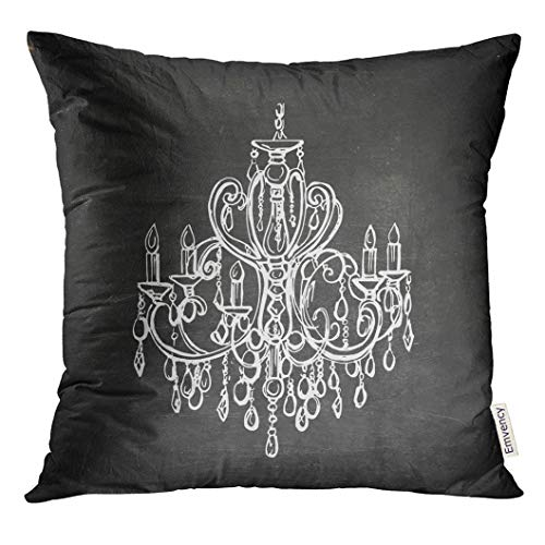 UPOOS Throw Pillow Cover Black Silhouette Chalk Drawn Chandelier on Blackboard Silver Sketch Antique Decorative Pillow Case Home Decor Square 16x16 Inches Pillowcase]()