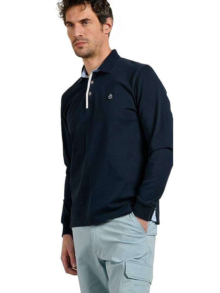 Bleu Marine M Mat de Misaine Polo Manches Longues Style Marin Homme